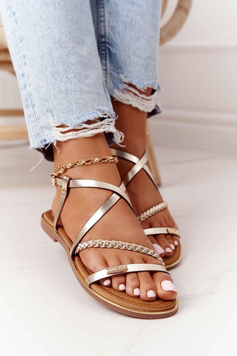 Leather Sandals With A Braid S.Barski 152-1 Golden