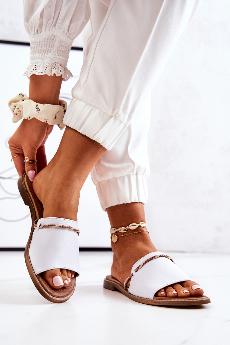 Leather Slippers Lewski Shoes 3047 White