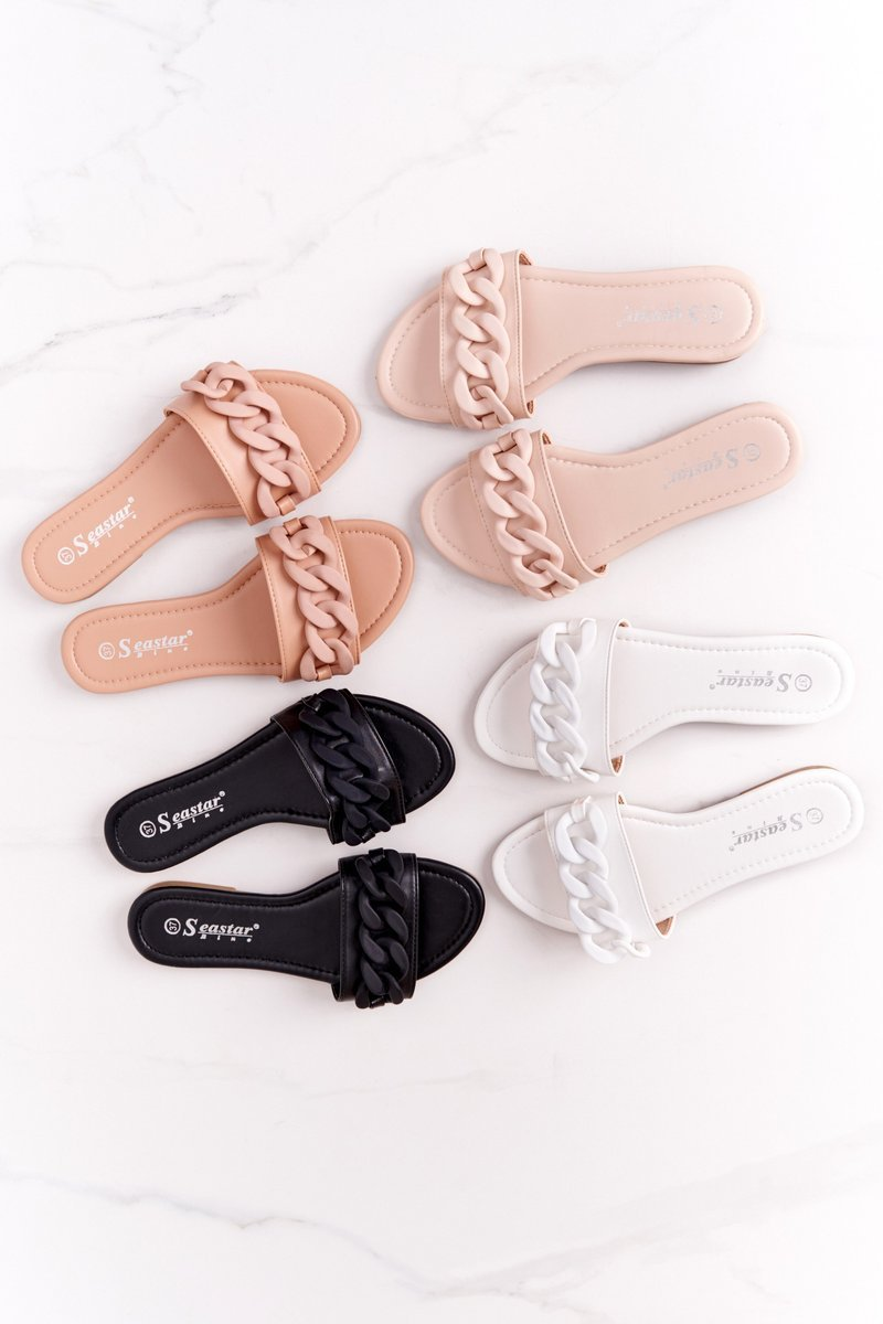 Leather Slippers With A Chain White Step By Step