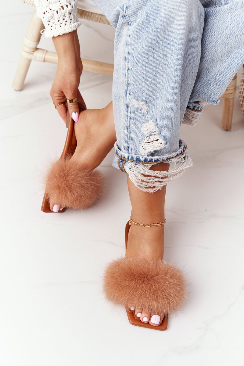 Leather Slippers With Eco Fur Camel Love You So