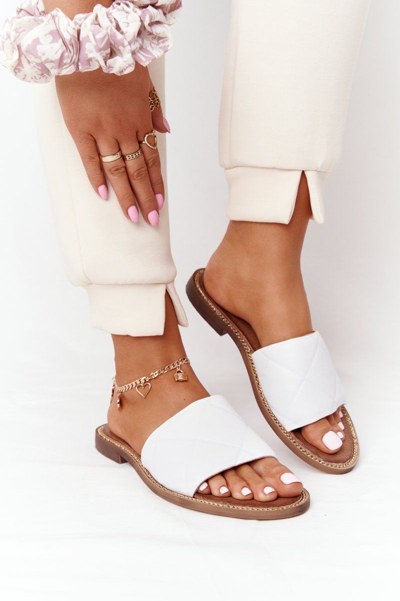 Leather Slippers With Quilting Nicole 2650 White