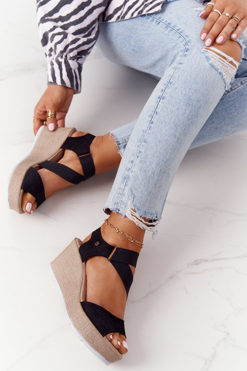 Leather Wedge Sandals With Drawstring Big Star FF276016 Black