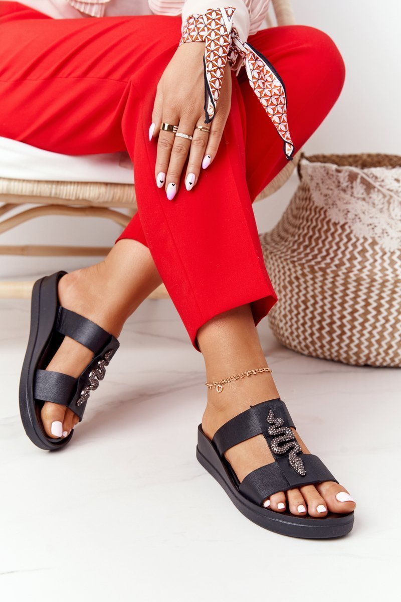 Leather Wedge Slippers Laura Messi 2272 Black
