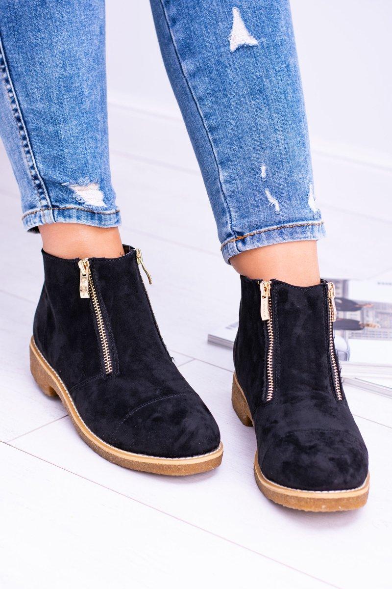 Lu Boo Black Suede Women Boots With Sliders Inez