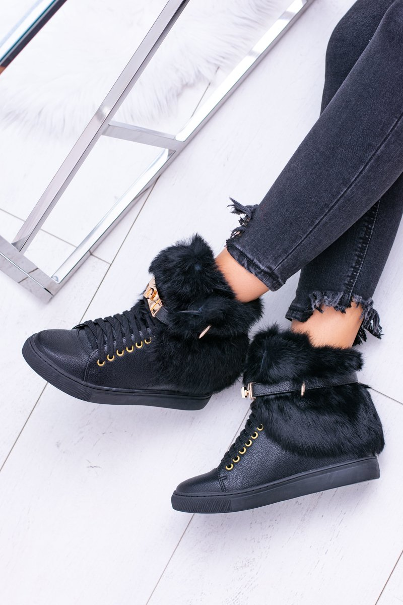 Lu Boo Black Women's Boots With Natural Fur Gisele