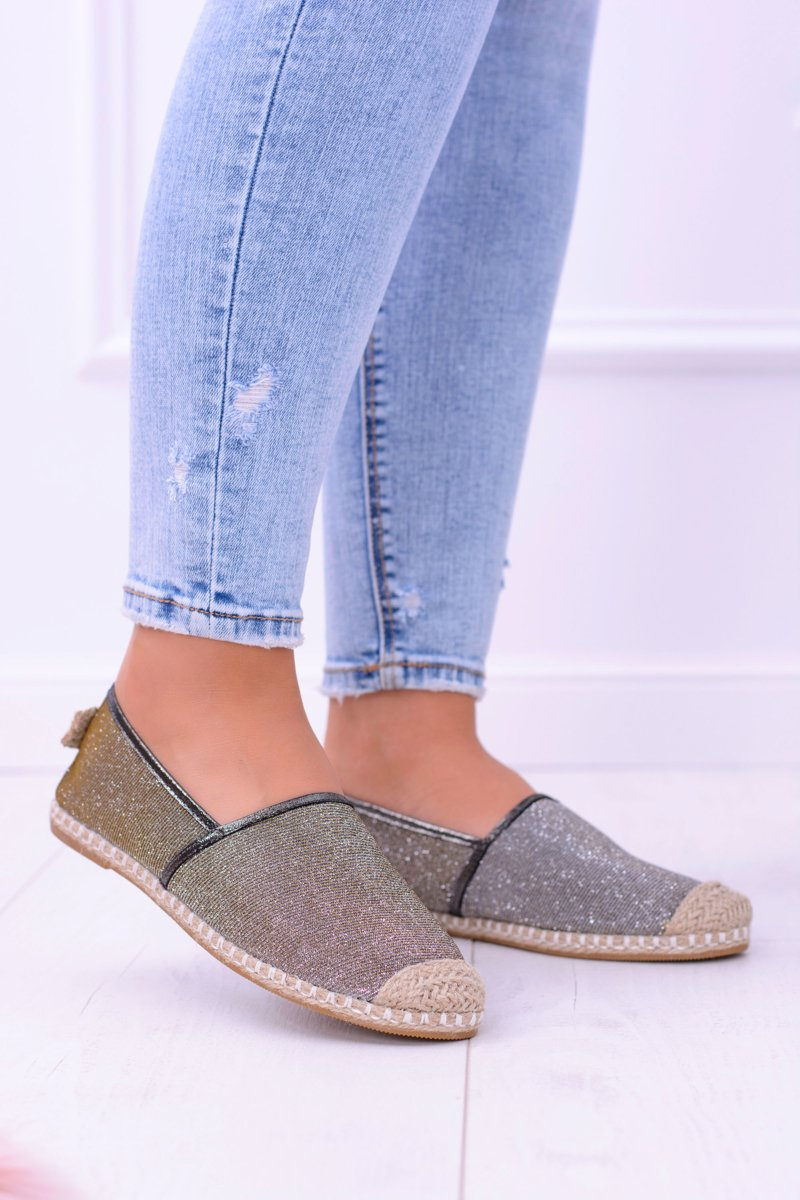 Lu Boo Bronze-Gold Women Espadrilles Slip On Brocade Miravet