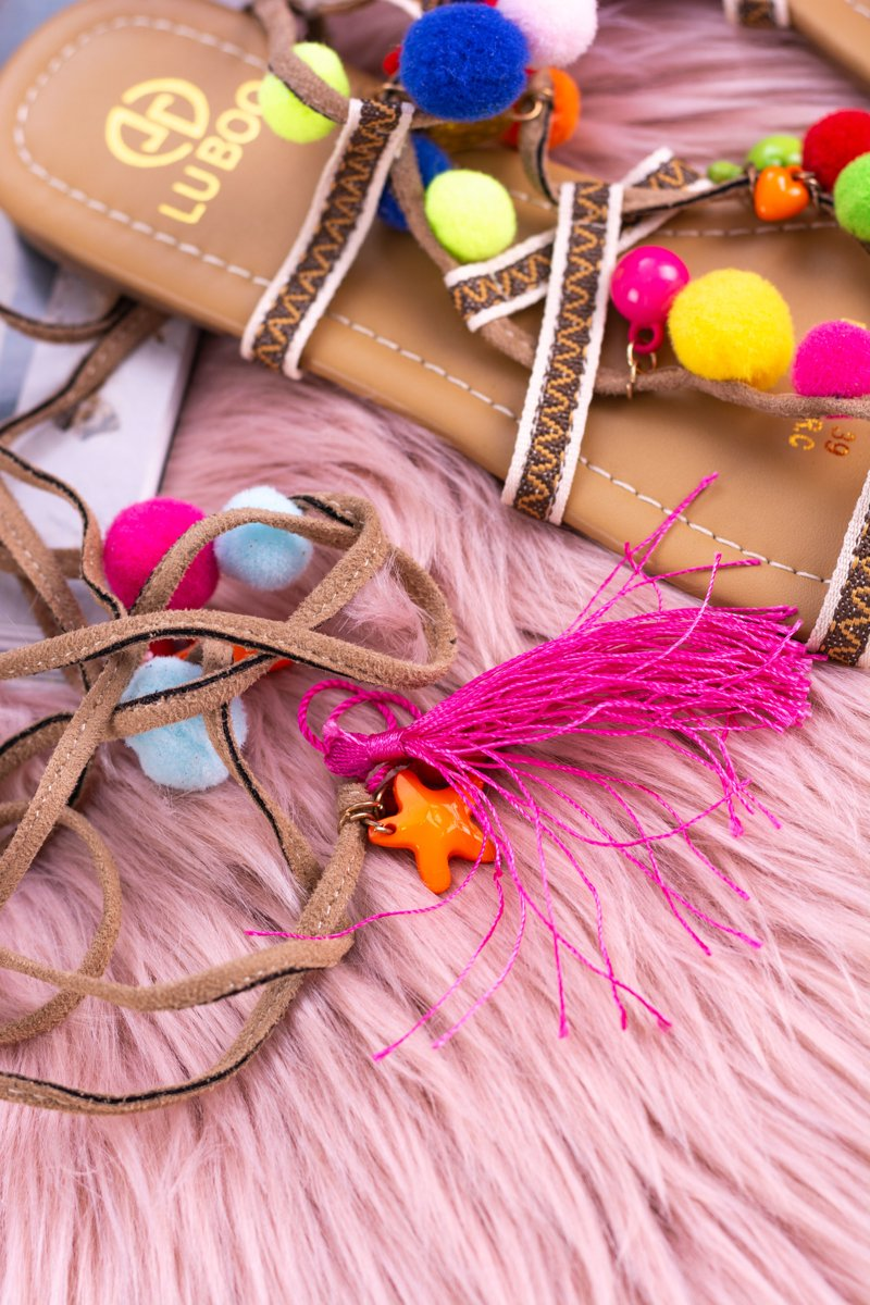 Lu Boo | Colorful Sandals Pompoms Gladiator