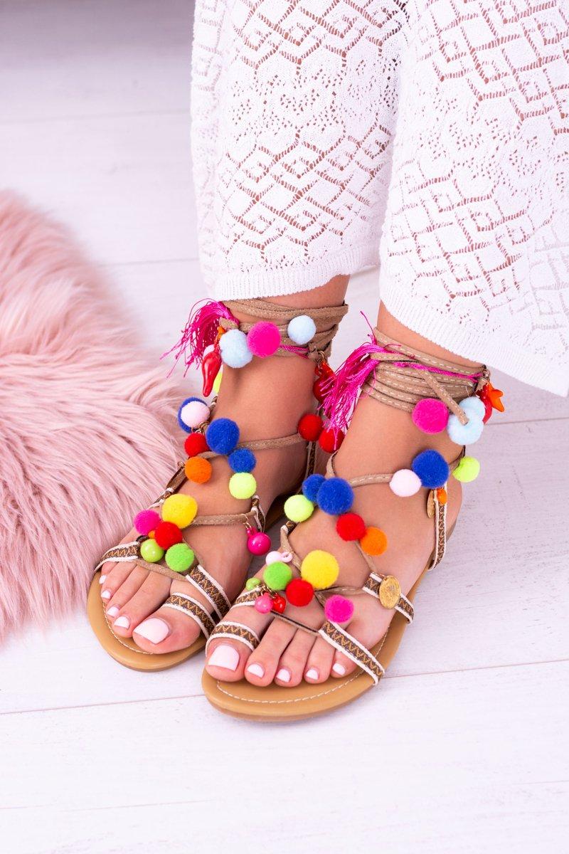Lu Boo   Colorful Sandals Pompoms Gladiator
