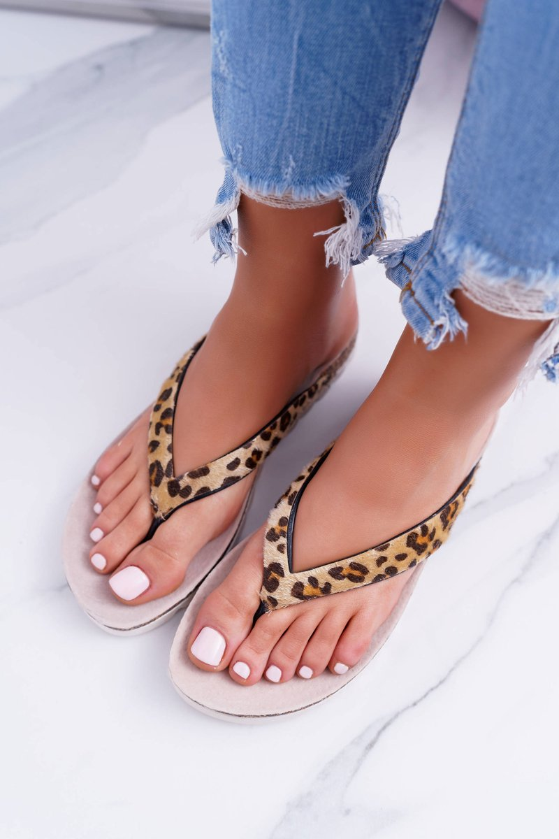 Lu Boo Cork Flip Flops for Summer Leopard
