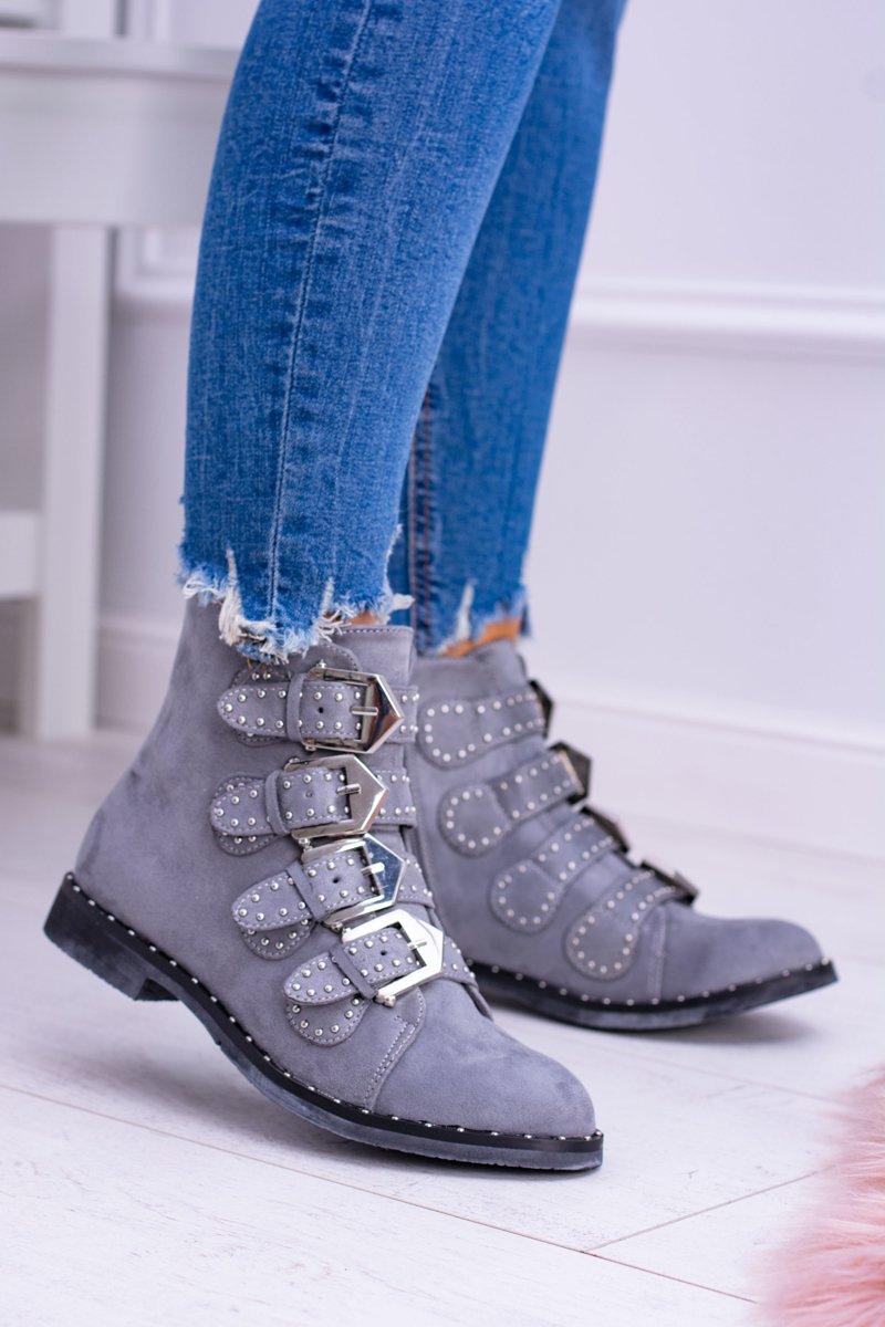 Lu Boo Dark Grey Suede Ankle Boots Virginia Rock Star