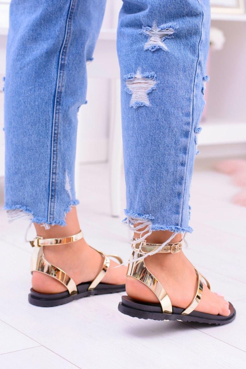 Lu Boo Golden Mirrored Sandals Roman flip-flops