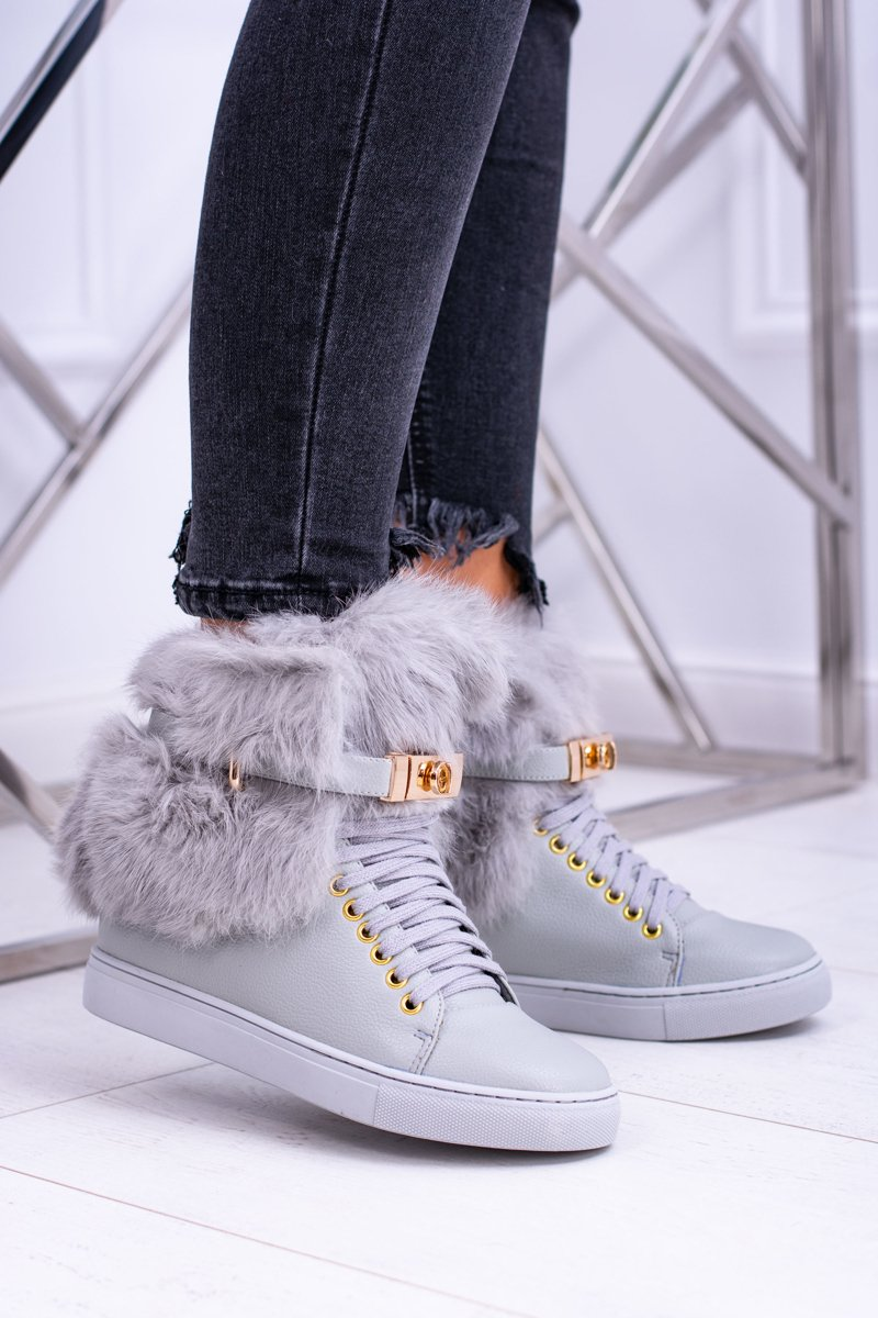 Lu Boo Grey Women's Boots With Natural Fur Gisele