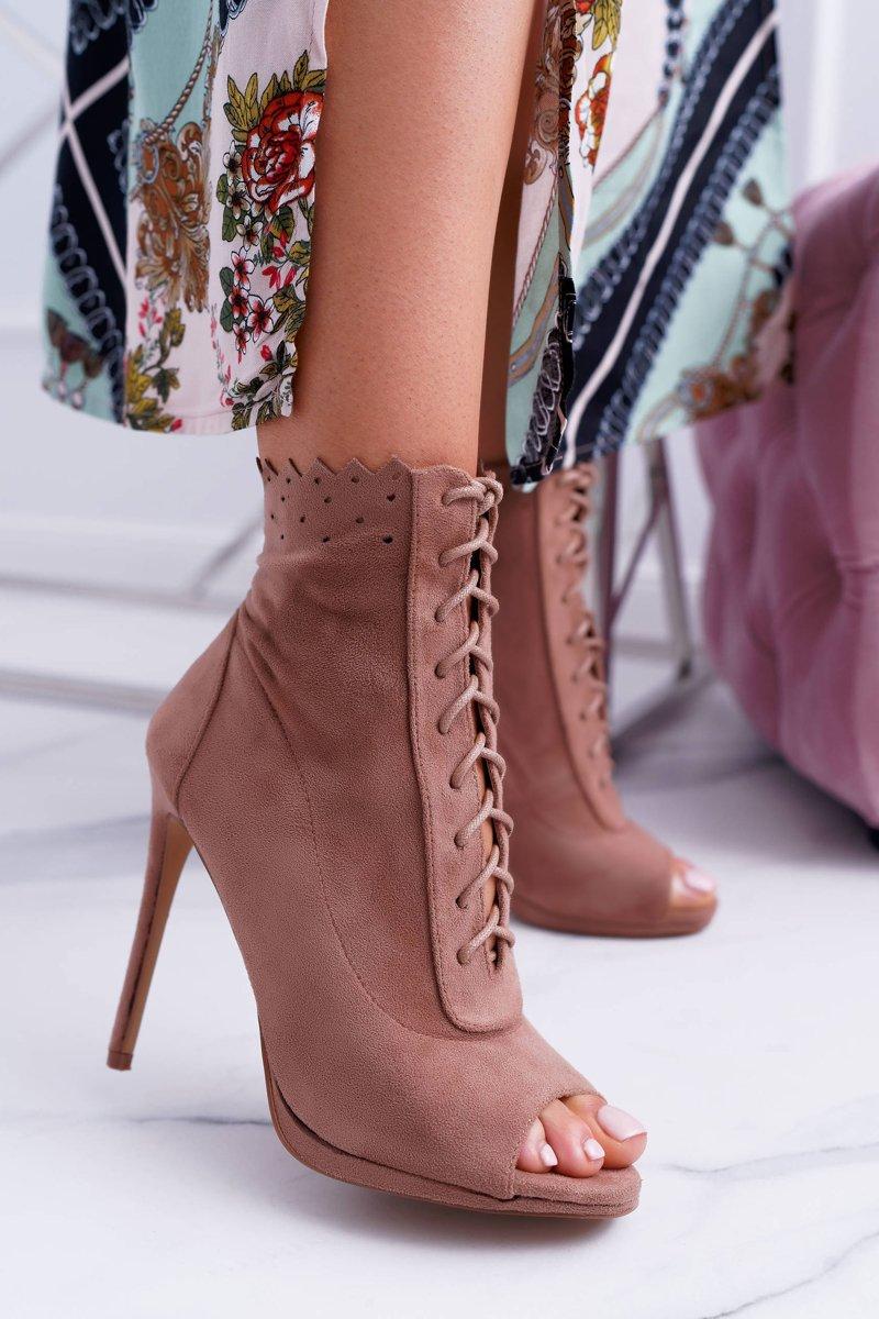Lu Boo Laced Booties Sandals On High Heels Natasha