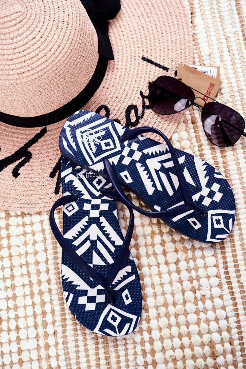Lu Boo Navy Blue Women's Flip Aztec Flip-flops Havanna