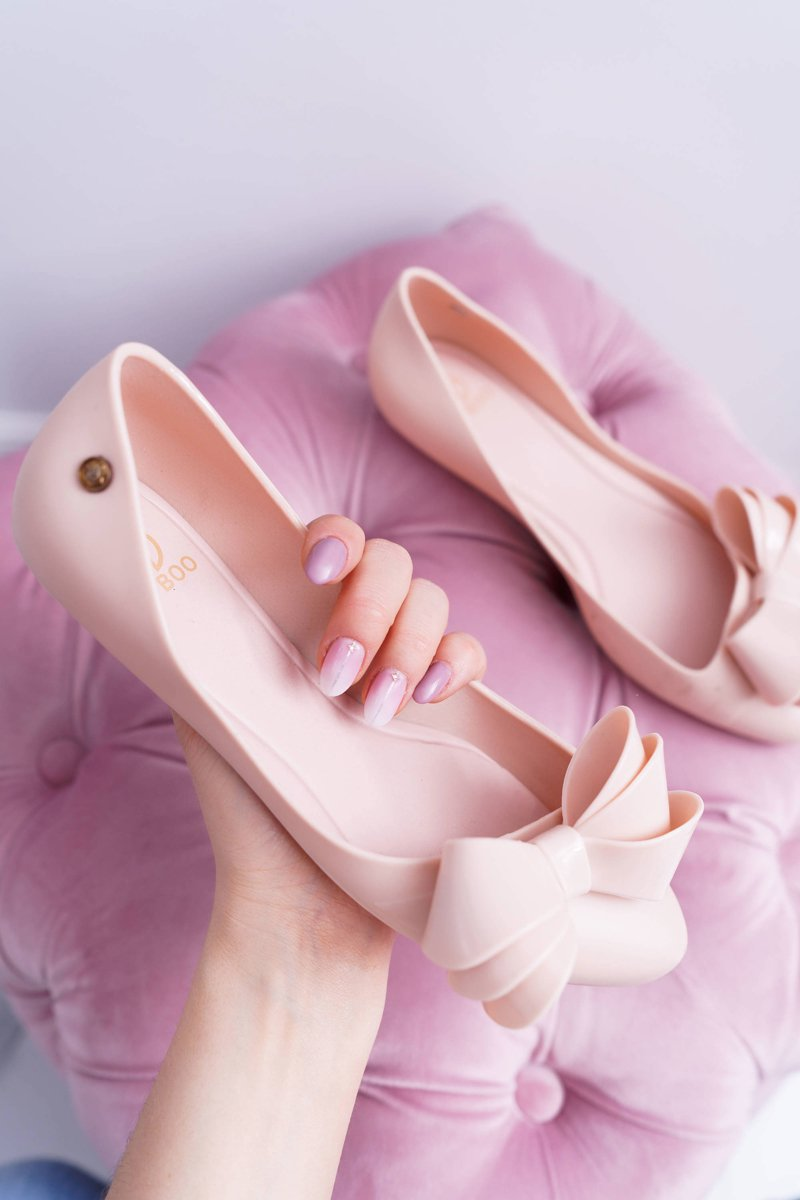 Lu Boo Pink Rubber Ballerinas Big Bow