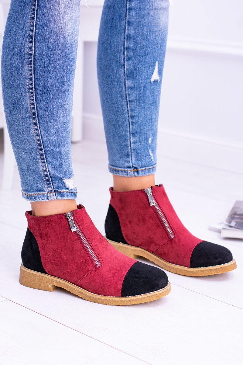 Lu Boo Red Suede Women Boots With Sliders Inez