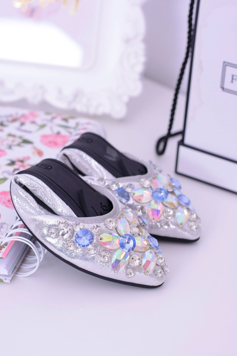 Lu Boo Silver Ballerinas With Zircons Even