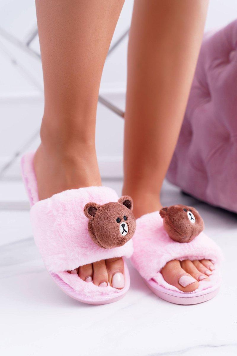Lu Boo Women Plush Flip-flops With Teddy Pink
