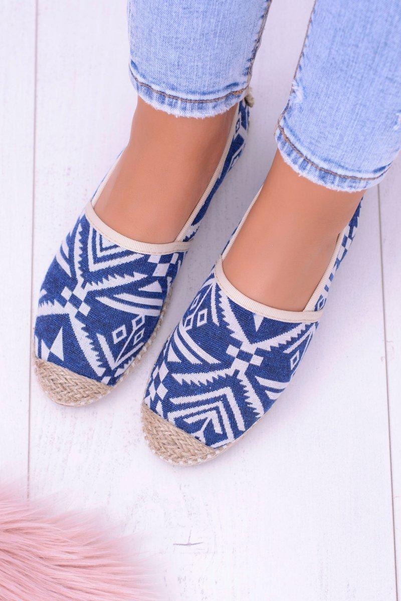 Lu Boo | Women's Blue Slip Linen Espadrilles Bimbi