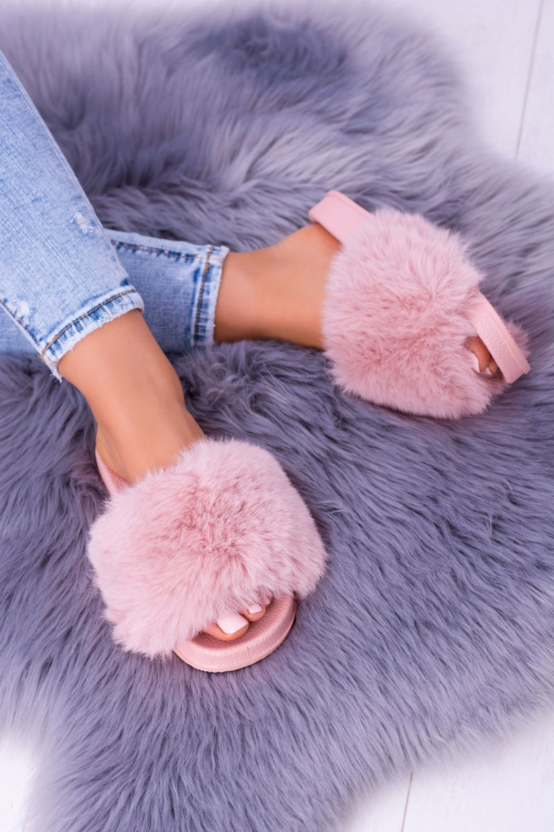 Lu Boo Women's Pink Slippers With Fur FUR XXL