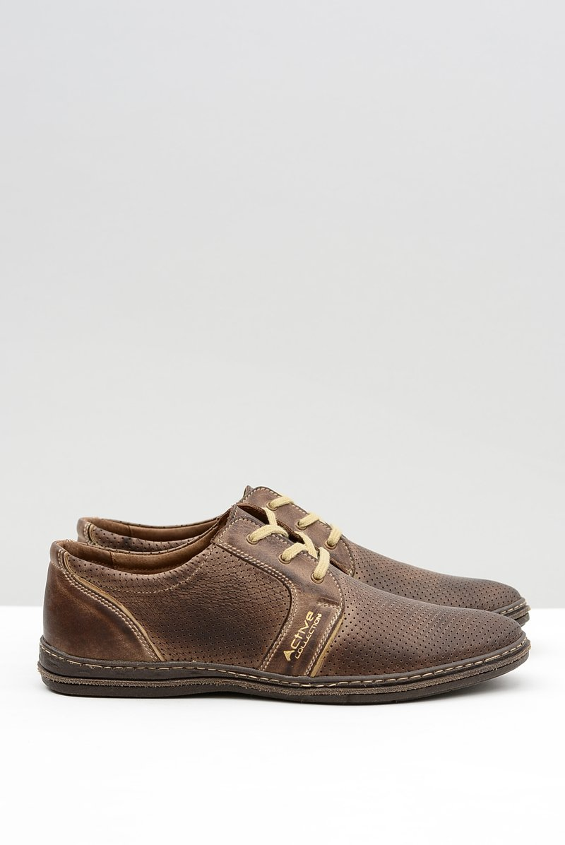 Men's Leather Lace-up Brown Perforated Shoes Markos