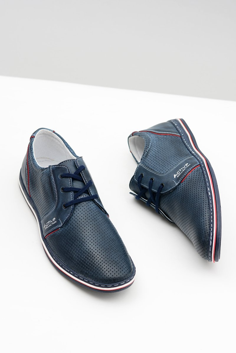 Men's Leather Lace-up Navy Perforated Shoes Markos