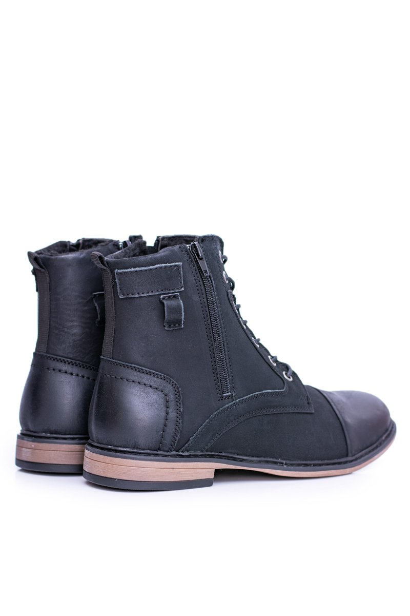Men's Leather Warm Boots With Zippers Grendy