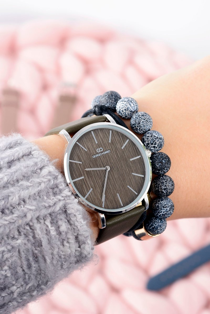 Oliwkowy Stylowy Skórzany Damski Zegarek Giorgio&Dario