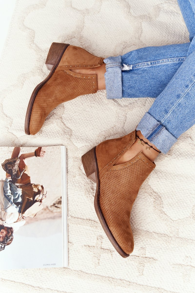 Openwork Boots With Cutouts Camel Clever