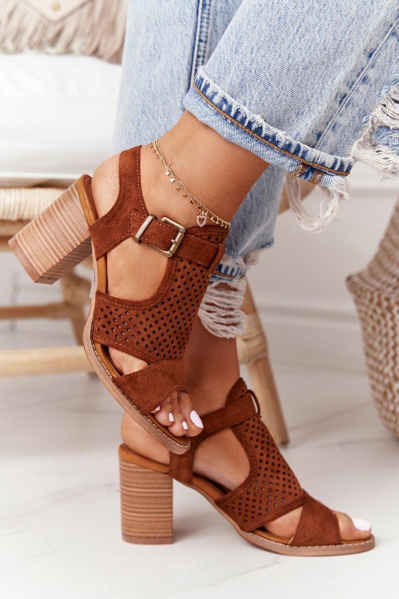 Openwork Sandals On A Block Heel Camel Hey Lover