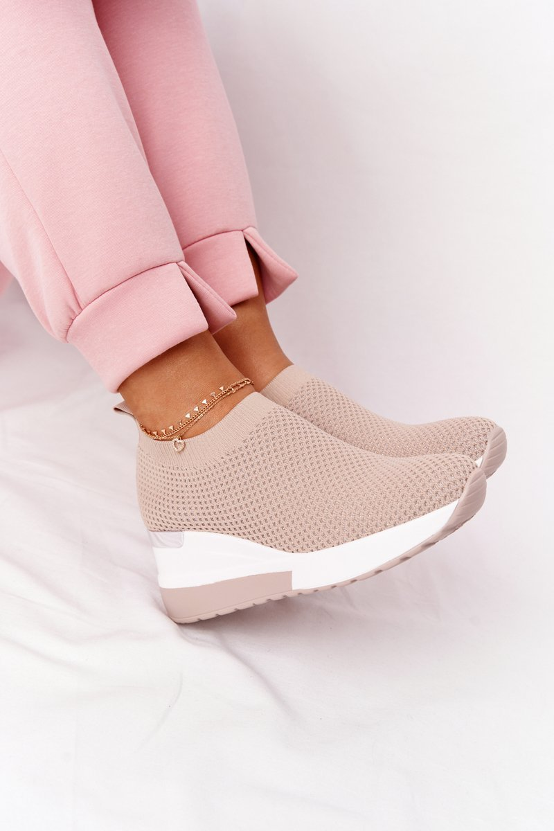 Openwork Wedge Slip-On Sneakers Beige Harmony