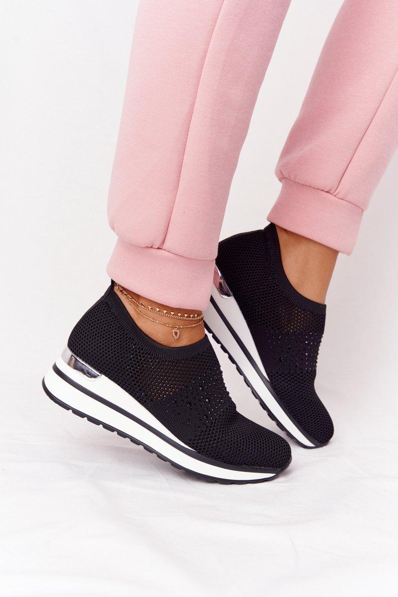 Openwork Wedge Slip-On Sneakers Black Sophia