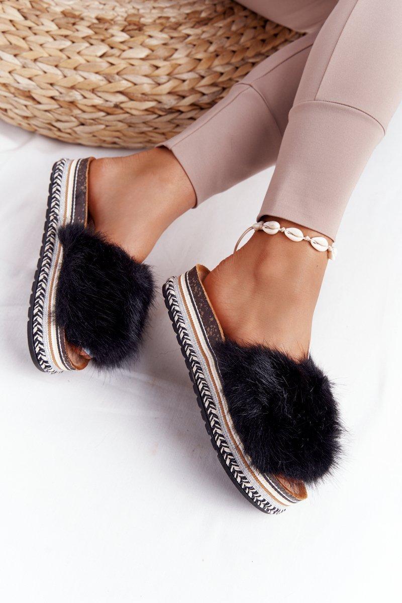 Platform Slippers With Eco Fur Black Adventure