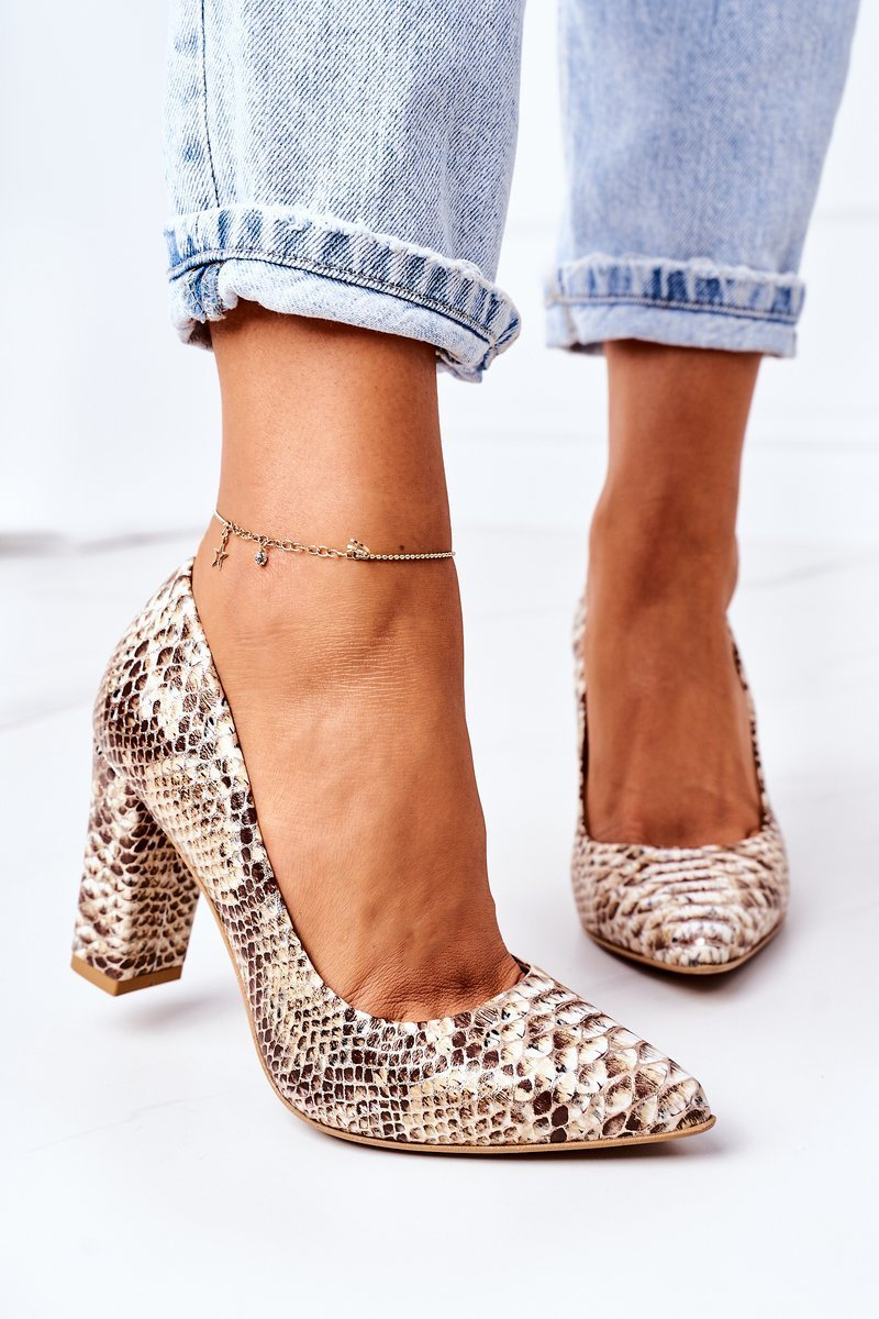 Pumps With A Snake Pattern Lewski Shoes 2453 Gold