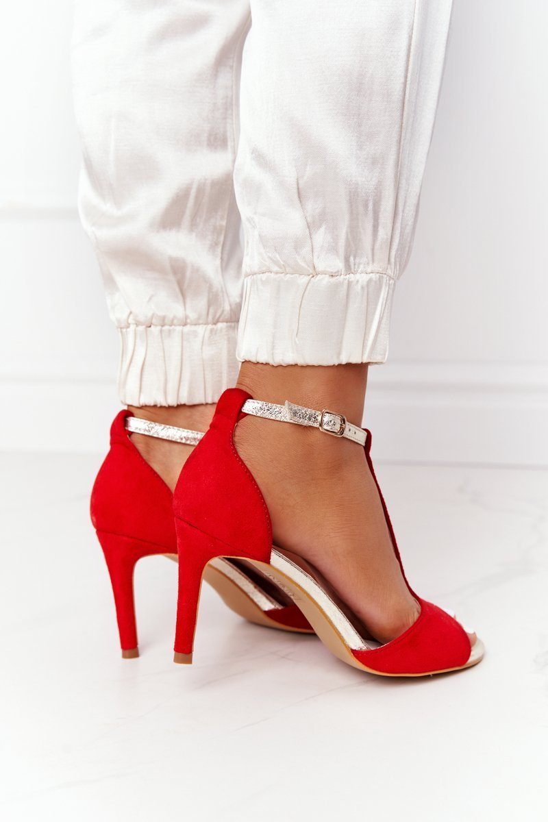 Sandals On High Heel S.Barski 280-58 Red-Gold