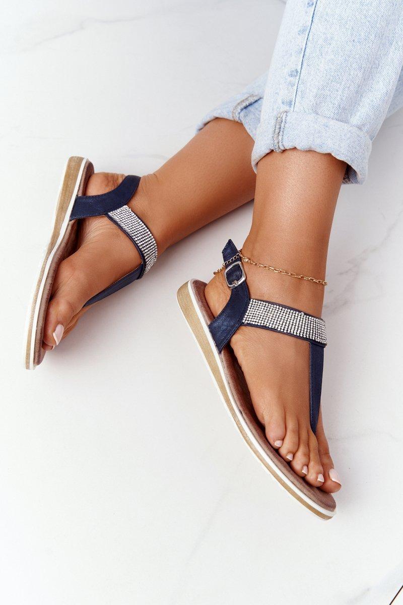Sandals With Cubic Zirconia S.Barski 701-12 Navy Blue