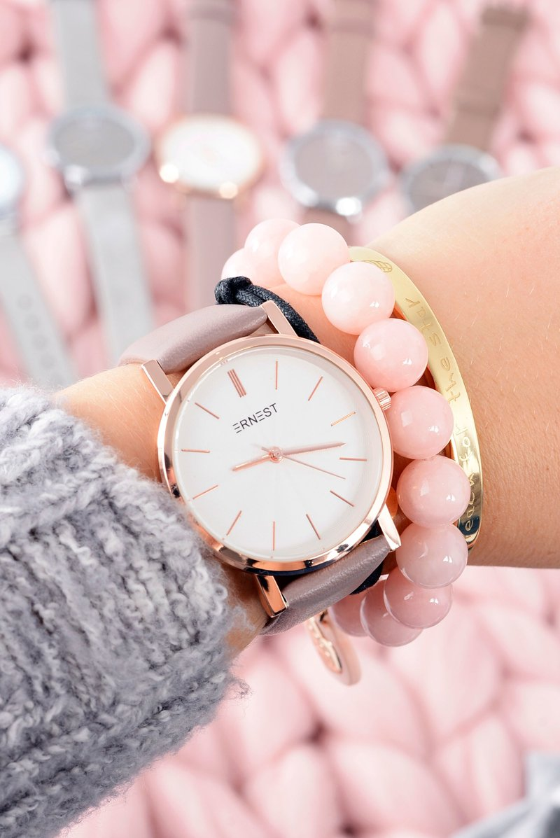 Skórzany Brązowy Damski Zegarek Analogowy Ernest