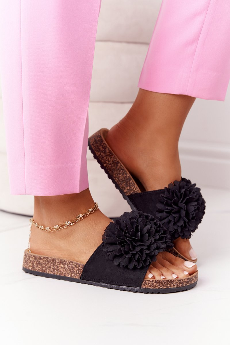 Slippers On The Cork Sole Black Flowerbomb