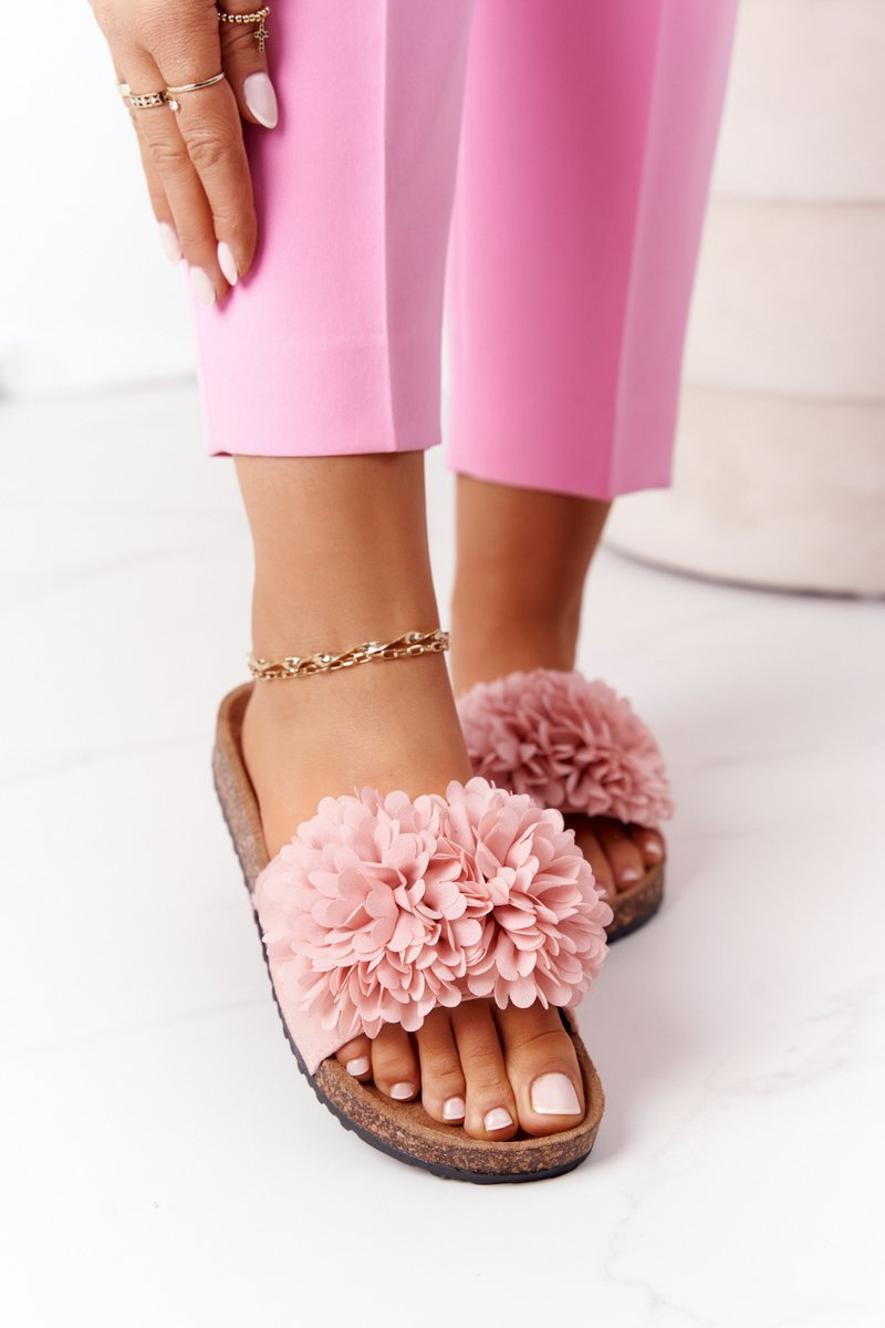 Slippers On The Cork Sole Pink Flowerbomb