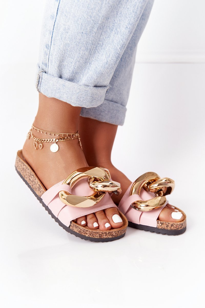 Slippers On The Cork Sole With Chain Pink Last Dance