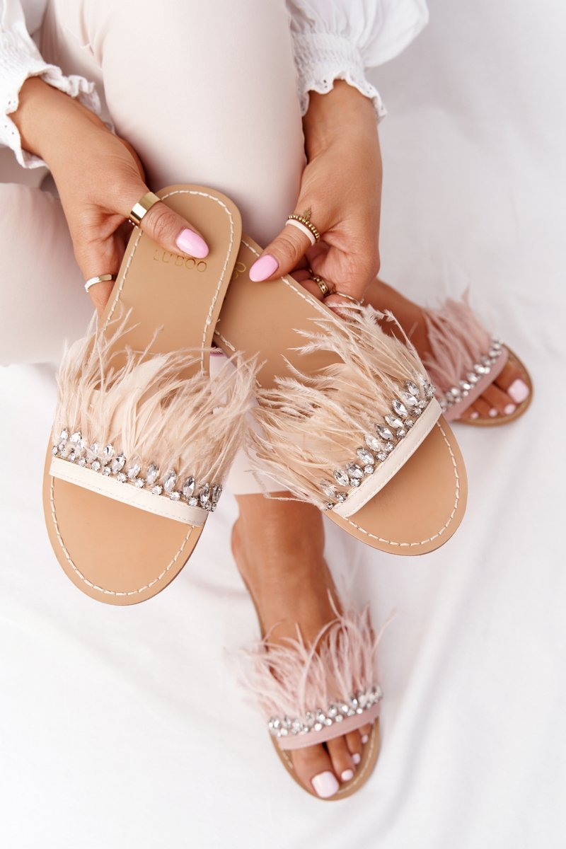 Slippers With Feathers Lu Boo Beige
