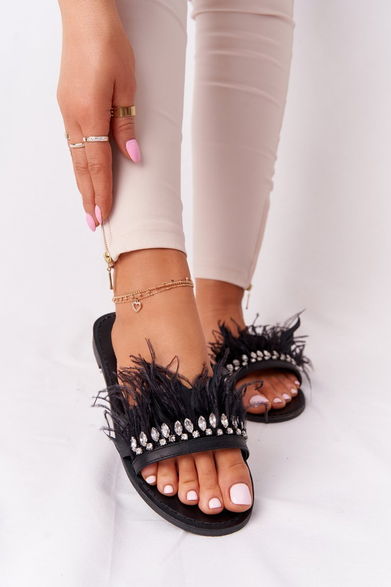 Slippers With Feathers Lu Boo Black