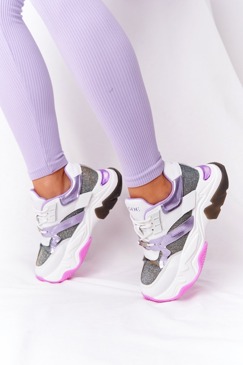 Sport Shoes On A Chunky Sole GOE HH2N4038 White-Violet