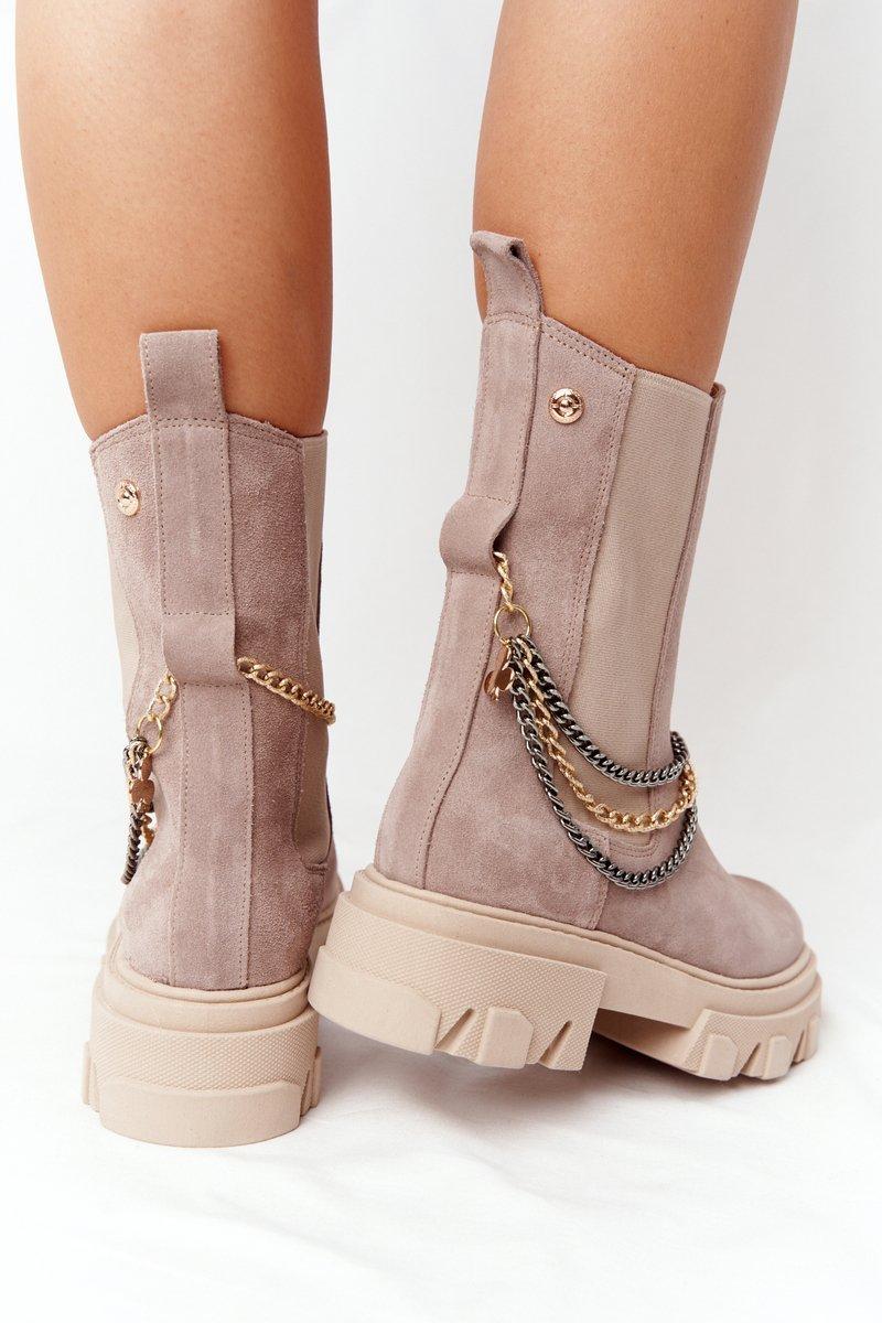 Suede Chelsea Boots Lewski Shoes 2998-0 Beige