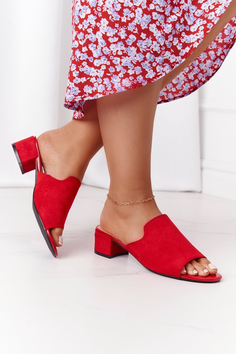 Suede Heeled Slippers Sergio Leone KL313 Red