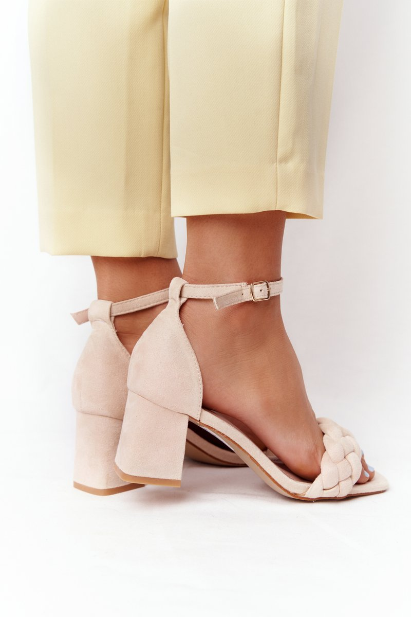 Suede High Heel Sandals Beige Long Island