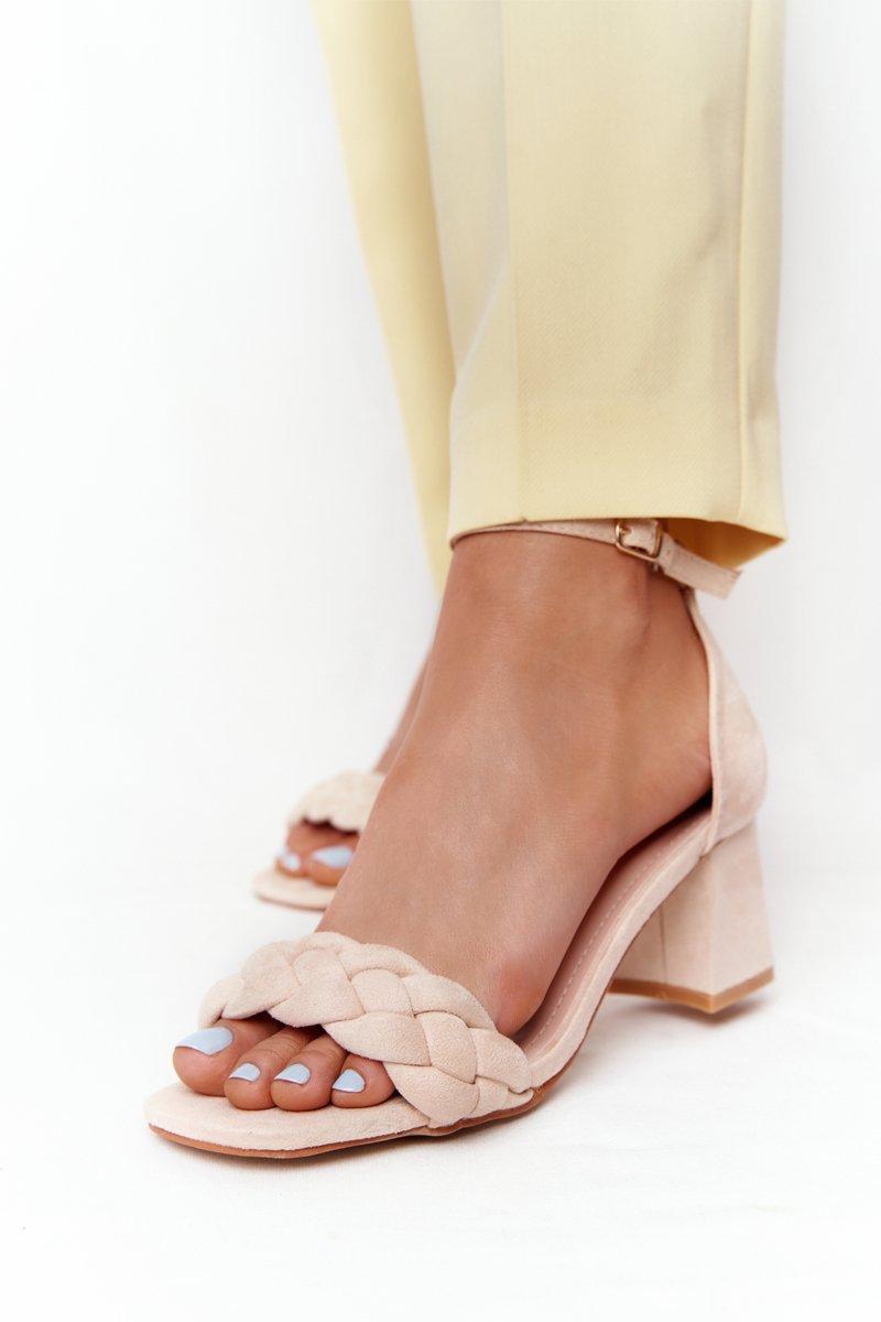 Suede High Heel Sandals Beige Long Island