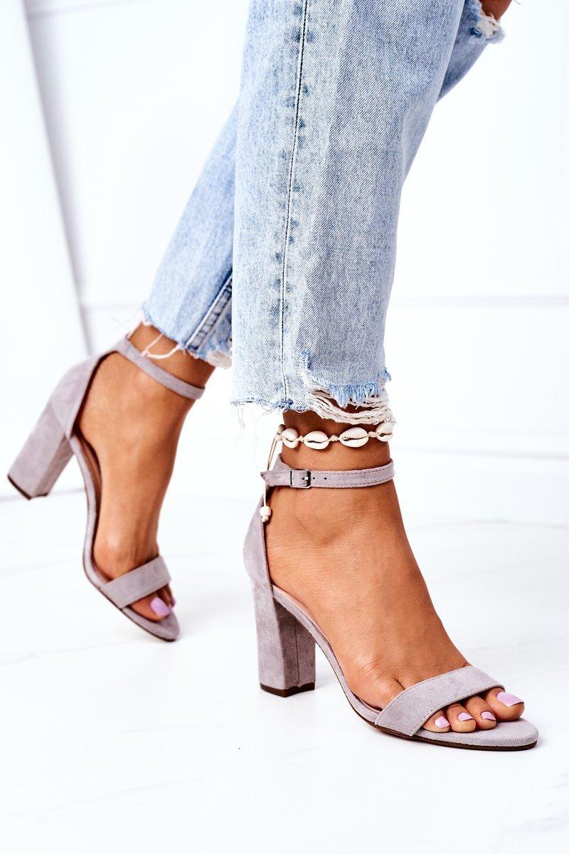 Suede High Heel Sandals Grey Florence