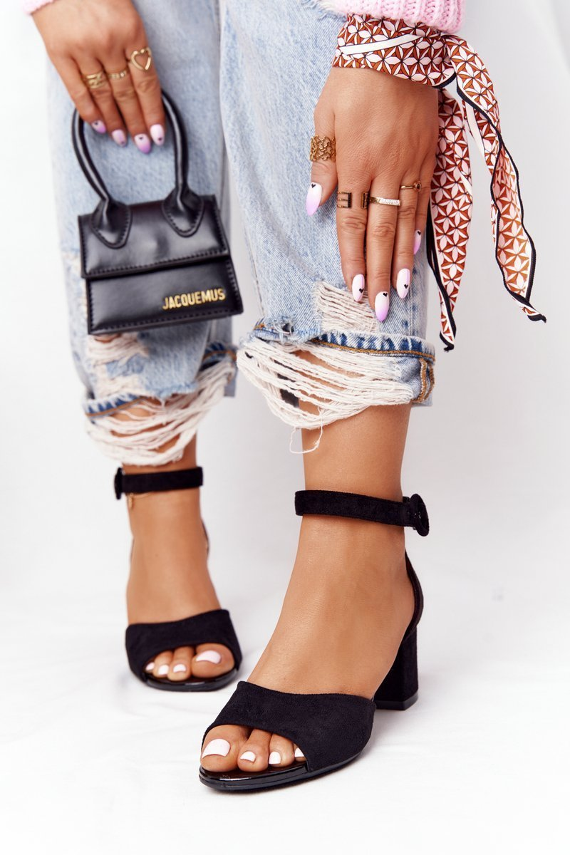 Suede High Heel Sandals Vinceza 21-20100 Black