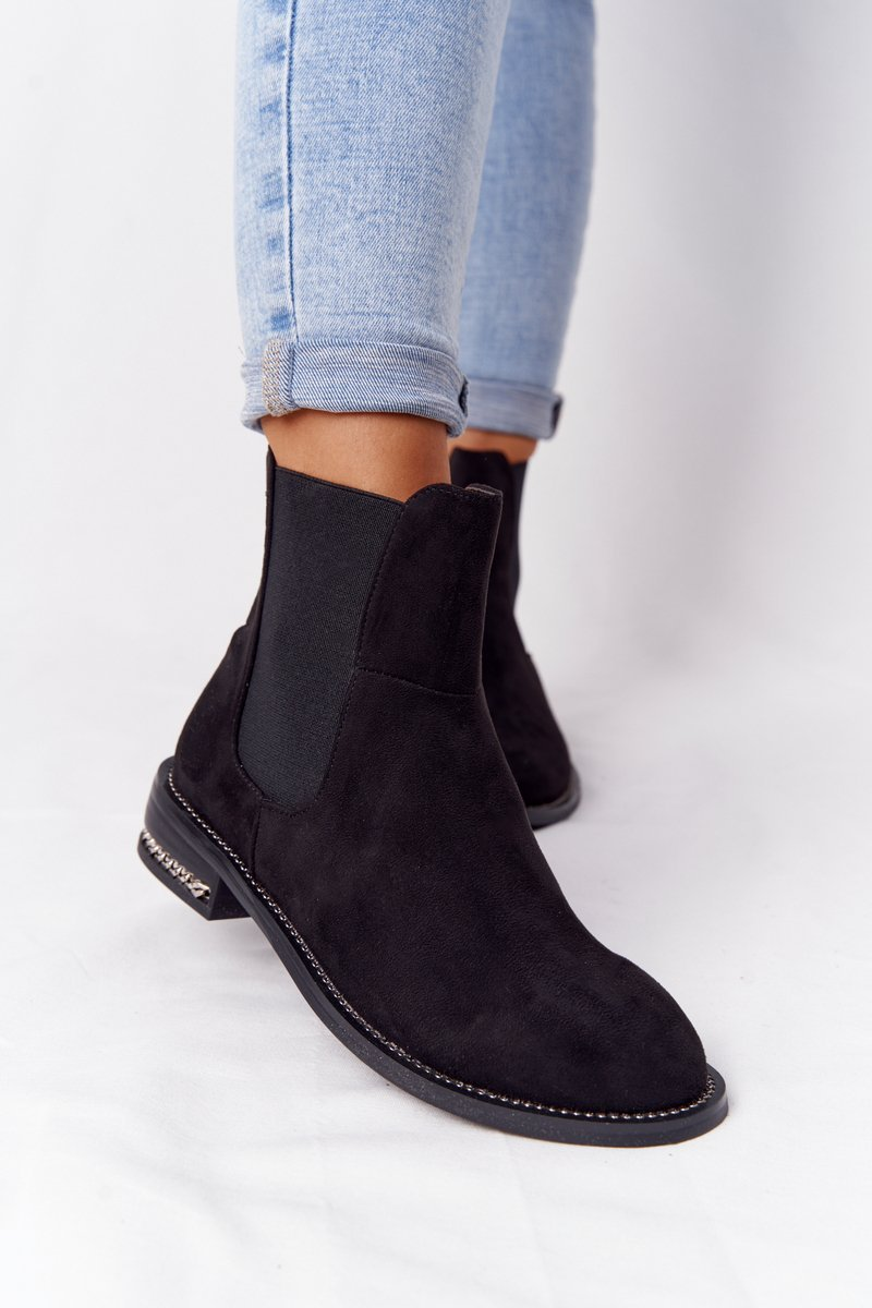Suede Insulated Chelsea Boots Lu Boo Black